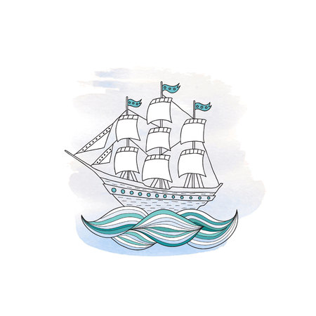 sails: Ship with sails on a blue watercolor background