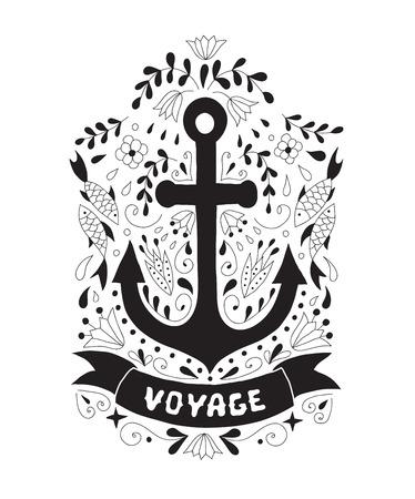 ancre marine: Silhouette d'une ancre sur un fond avec des ornements