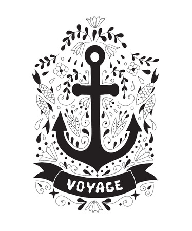 Silhouette of an anchor on a background with ornaments