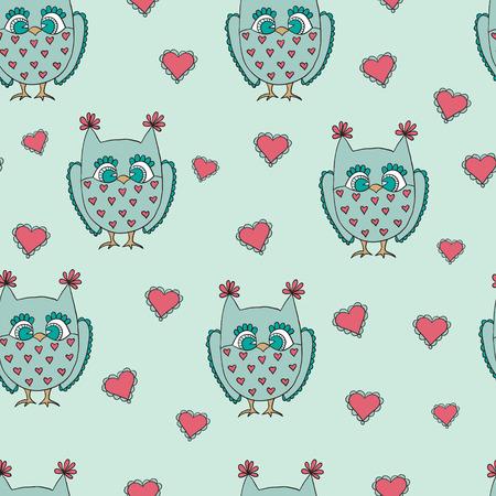 Cute cartoon vector owls. Vector seamless pattern.