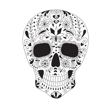 macabre: Skull with floral ornament. Day of the dead. Illustration