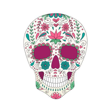 dia de muertos: Cr�neo con el ornamento floral. Dia de los Muertos. Vectores