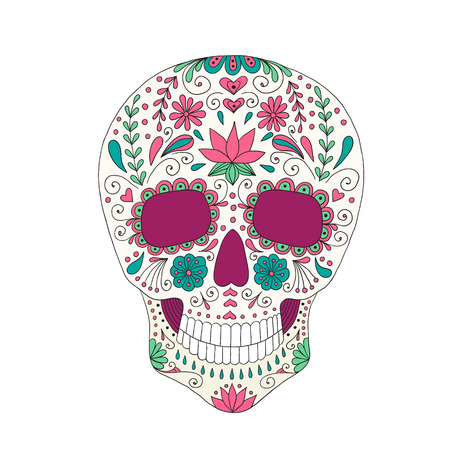Skull with floral ornament. Day of the dead. Illustration