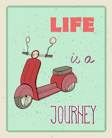 jorney: Vintage Typographic Background with Motivational Quotes, Life is a jorney