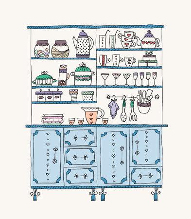 kitchen cabinet: Kitchen Cabinet with various utensils. Design elements of kitchen.