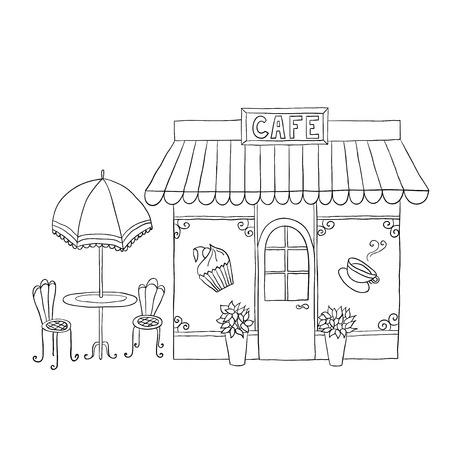 漫画通りのカフェ テーブルでのベクトル イラスト。