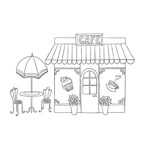 Cartoon vector illustration of street cafe with tables. Ilustração