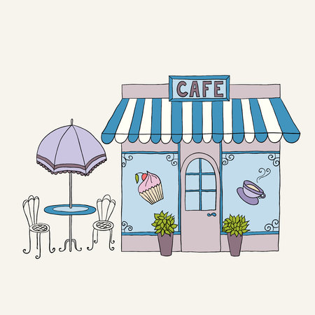 Cartoon vector illustration of street cafe with tables. Ilustração Vetorial