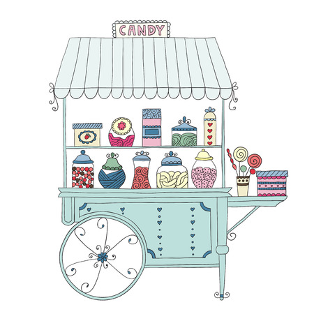 Cart for sale sweet candy. Vector illustration.