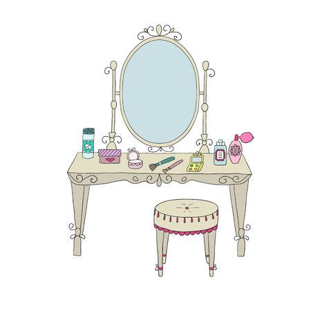 Vanity Tisch mit Make-up und einen Stuhl. Vektor.