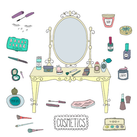 vanity: Vanity table with mirror and makeup. Vector.