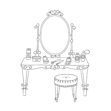 vanity: Vanity table with makeup and a chair. Vector.