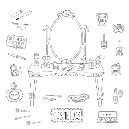 vanity table: Vanity table with mirror and makeup. Vector.