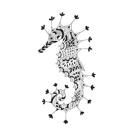 caballo de mar: Silueta estilizada de un caballito de mar sobre un fondo claro. Vectores