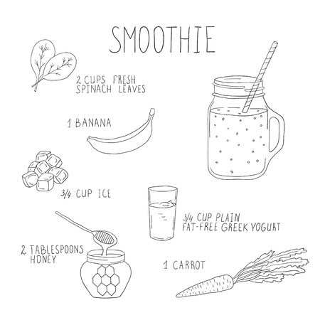 detox: Smoothie recipe with a bottle and ingredients. Detox and healthy eating. Hand-drawing.
