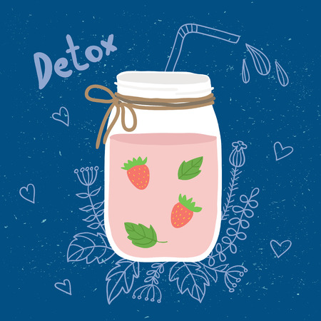 detox: Bottle smoothie with mint and strawberries. Doodle. Detox and healthy eating. Hand-drawing.