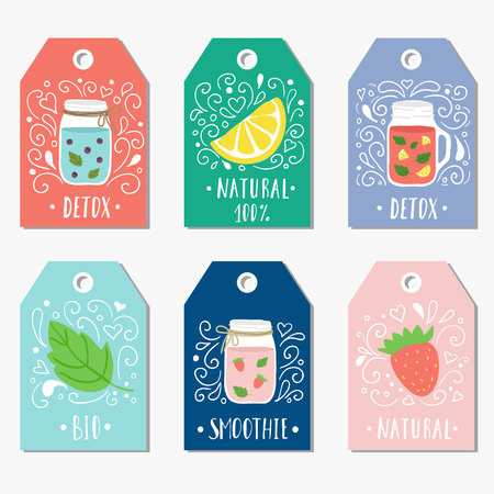 detox: Stickers, labels, cards, tags with doodle illustrations of smooties and fruit. Detox healthy food. Illustration