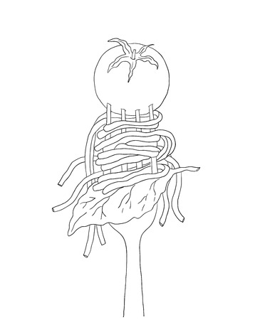 Spaghetti with cherry tomato and Basil leaf on a fork. Hand drawn italian pasta. Illustration