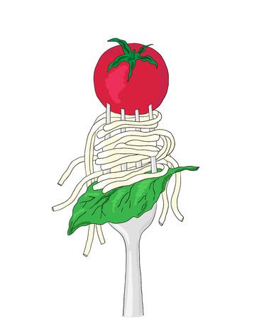 basil leaf: Spaghetti with cherry tomato and Basil leaf on a fork. Hand drawn italian pasta. Illustration