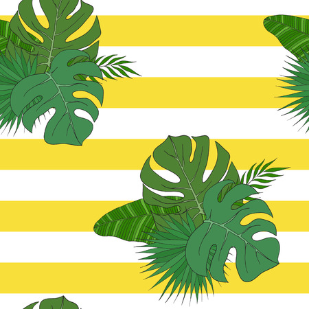green flowers: The leaves of tropical palm trees on the striped yellow-white background. Pattern. Illustration