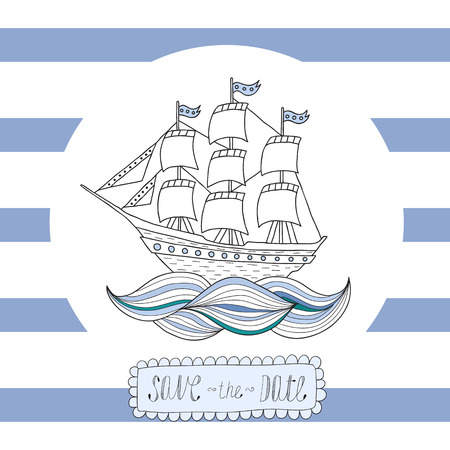 brigantine: Greeting card, invitation with blue stripes with a round frame and a sailing ship in the center.