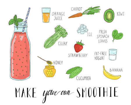 Smoothie recipe with a bottle and ingredients. Detox and healthy eating. Hand-drawing. Vetores