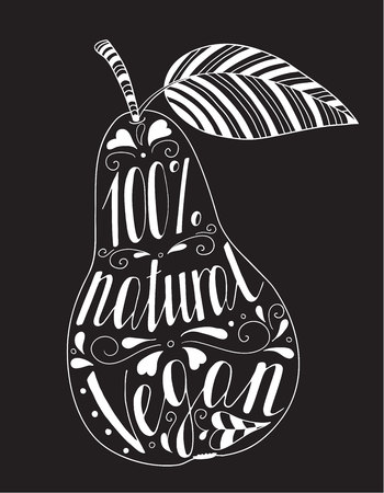 Pear with the phrase natural vegan. On a black background. Illustration