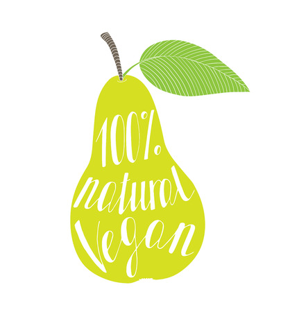Pear with the phrase natural vegan. On a white background.