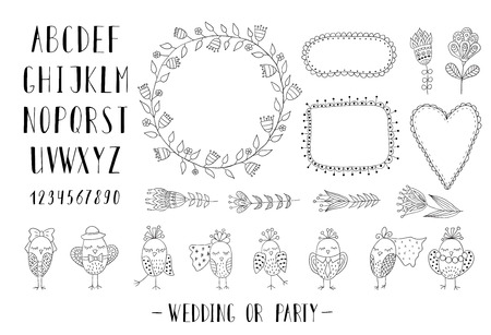 Elements for creating greeting cards, invitations for wedding or party with frames, flowers, font and birds. Black and white.