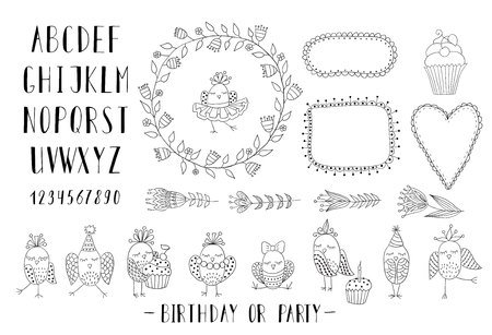 Elements for creating greeting cards, invitations for birthday or party with frames, flowers, font and birds. Black and white.
