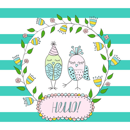 ferraille: Carte de voeux, invitation dans une bande bleue avec un cadre de fleurs et de feuilles avec un oiseaux à l'intérieur. Illustration