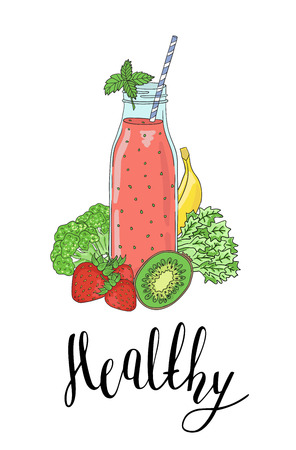 Bottle smoothies with fruits, vegetables and the phrase a Healthy. Detox, healthy eating. All elements are drawn completely and can be moved or used alone.