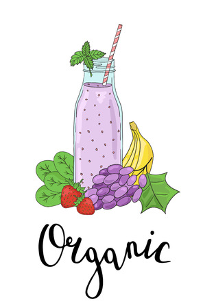 Bottle smoothies with fruits, vegetables and the phrase an Organic. Detox, healthy eating.  All elements are drawn completely and can be moved or used alone.