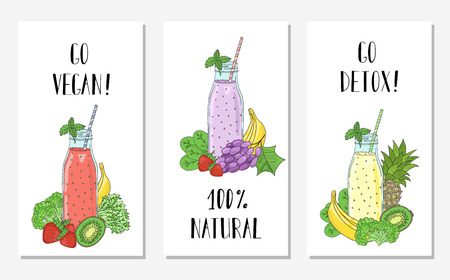 Cards with the image of bottles smoothies and fruits, vegetables. Detox, healthy eating. All elements are drawn completely and can be moved or used alone. Illustration