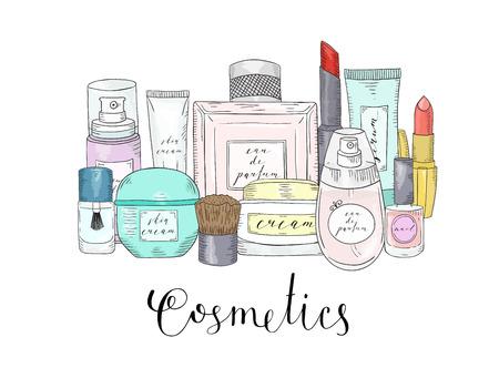 手描きの化粧品セットです。美しさとメイクアップ。スケッチ
