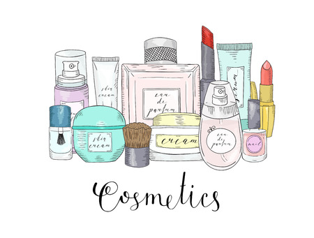 Hand drawn cosmetics set. Beauty and makeup. Sketch Illustration