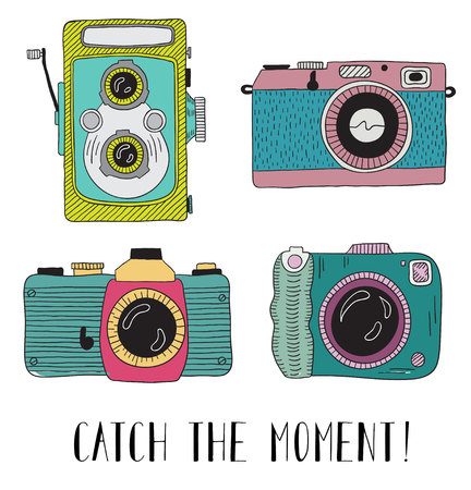 'catch the moment': Photo cameras with lettering - Catch the moment. Vector hand drawn illustration.