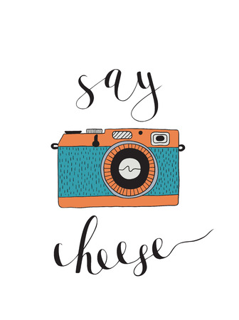 say cheese: Photo camera with lettering - Say cheese. Vector hand drawn illustration.