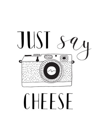 say cheese: Photo camera with lettering - Just say cheese. Vector hand drawn illustration.