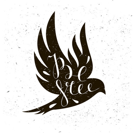 the sparrow: Black bird isolated with expanded wings on a light background with motivational quote Be free.