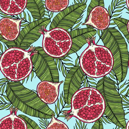 果物のザクロ、イチジクの葉の色のパターン。青い背景。  イラスト・ベクター素材