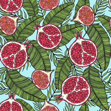 Pattern of fruits pomegranate and fig on the color of leaves. On a blue background. Illustration