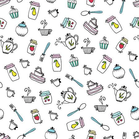hip flask: Pattern of kitchen utensils.