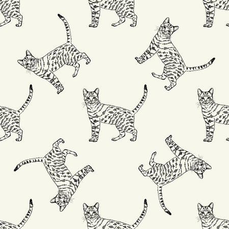 Pattern of a sketched cat.