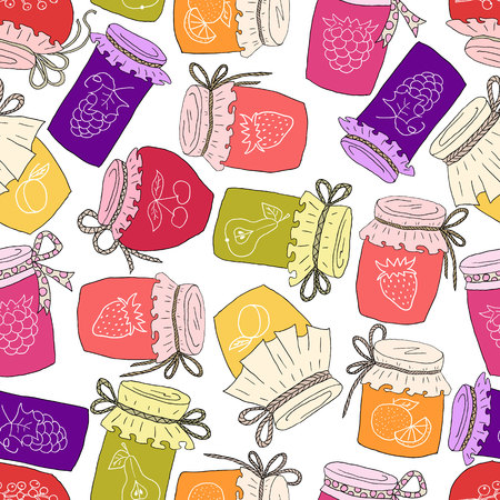 Pattern of hand drawn jars with home-made jams. Illustration
