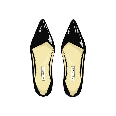 women's shoes: Womens black shoes with pointed toe.