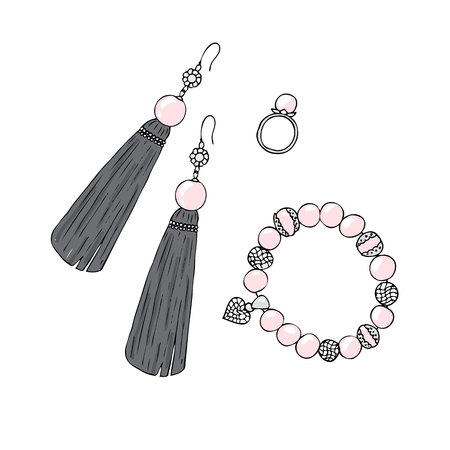 Women jewelry earrings, ring and bracelet with pearls. Illustration