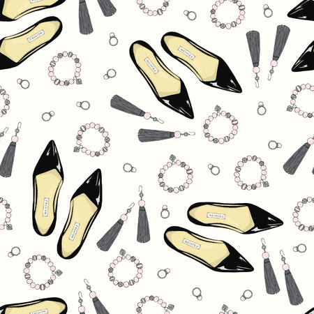 A pattern of women shoes and accessories