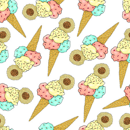 Pattern of ice cream in a waffle cone, three colors with sprinkles.