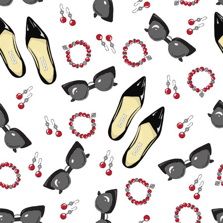 A pattern of women shoes and accessories on a white background.